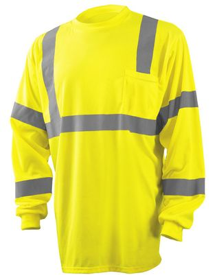 Occunomix LUX-LSETP3B Long Sleeve Wicking Birdseye T-Shirt With Pocket Yellow Front
