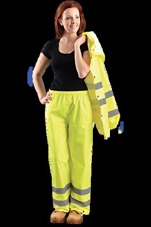 Occunomix LUX-TRPNT Hi-Viz Breathable Rain Pants, Class E Example