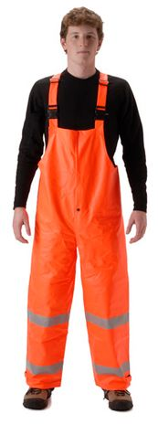 nasco sentinel hi vis flash fire rated chemical resistant rain bib orange