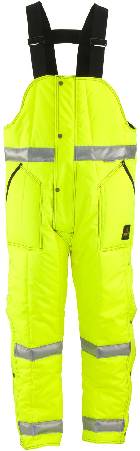 RefrigiWear 0385L2 HiVis Iron-Tuff High Bib Overall Lime Yellow Front