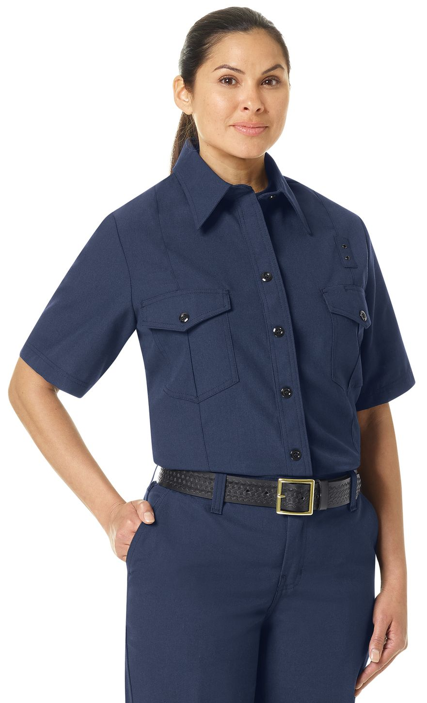 Workrite FR Women's Firefighter Shirt FSF3, Classic Short Sleeve Navy Example Right