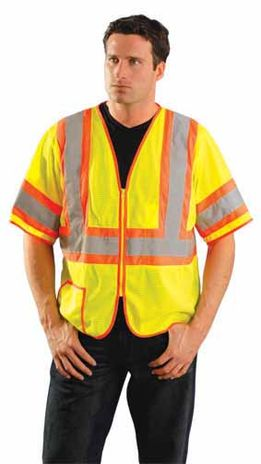 Occunomix Two-Tone, High Visibility, Half-Sleeve Mesh Vest LUX-HSCLC3Z Example