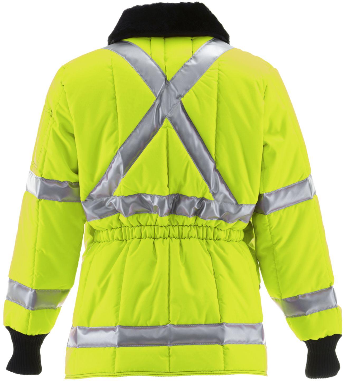 RefrigiWear 0342L2 HiVis Iron-Tuff Jackoat Lime Back