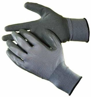 grey nylon latex palm gloves hs1303