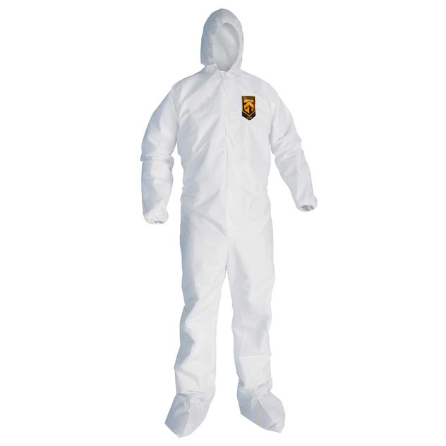 Kimberly Clark Kleenguard A20 White Coverall w/ Hood & Boots Front