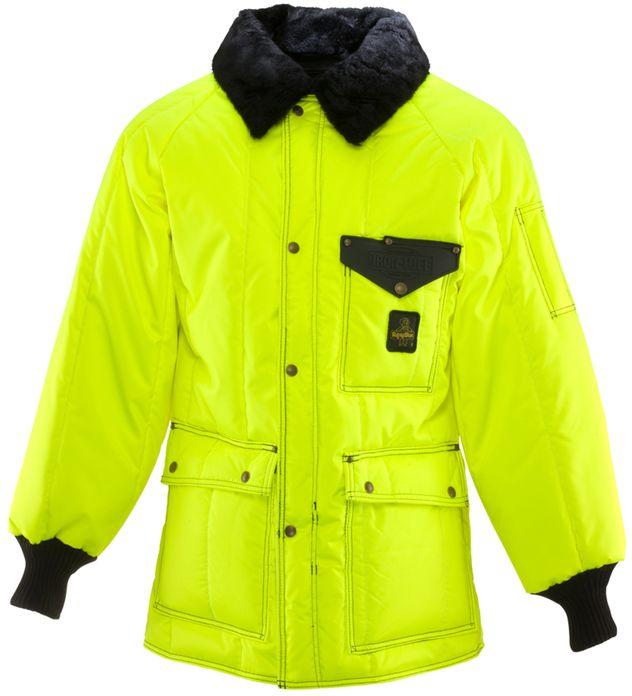 RefrigiWear 0358HV HiVis Iron-Tuff Siberian Coat Lime Front