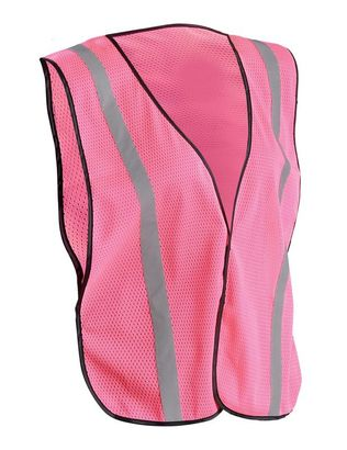 Occunomix LUX-XSBML Hi-Viz Mesh Silver Reflective Vest, Pink, NON ANSI Front