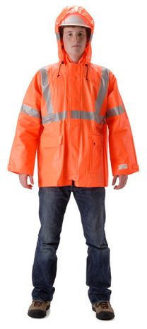 nasco arclite hi viz orange fire resistant rain jacket
