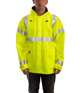 Tingley Eclipse™ Arc Flash and Fire Resistant Rain Jacket - PVC on Nomex®, Chemical Resistant, Class 3 Hi Vis Fluorescent Yellow Green Front