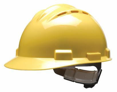 Bullard S62R High Density Polyethylene Yellow Ratchet Vented Hard Hat