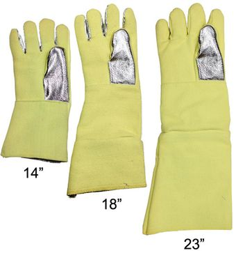 Different Lengths of CPA Aluminized High Heat Kevlar Foundry Gloves