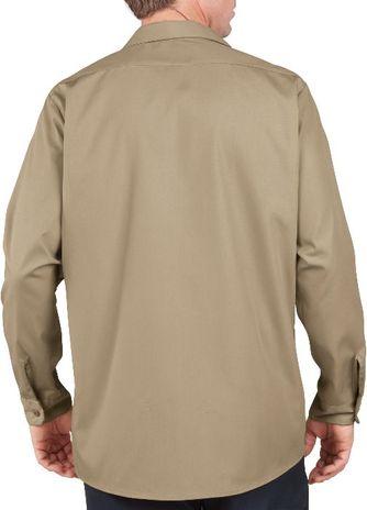 Dickies Men's Shirts - Long Sleeve Industrial Work Shirt LL535 - Khaki