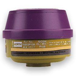North Safety 75852P100L Mercury Vapor Cartridges with P100 Filters