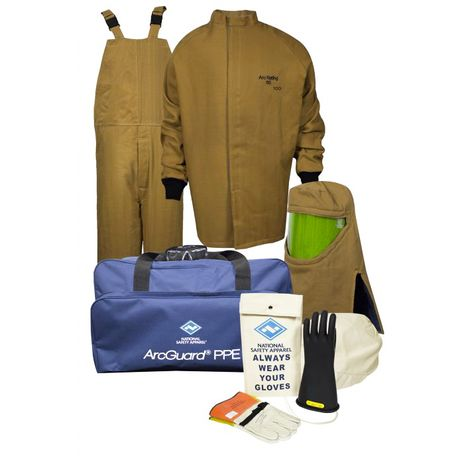 National Safety Apparel Arc Flash Suit KIT4SC100 100 Calorie With Jacket And Bib Overall HRC 4 Bright