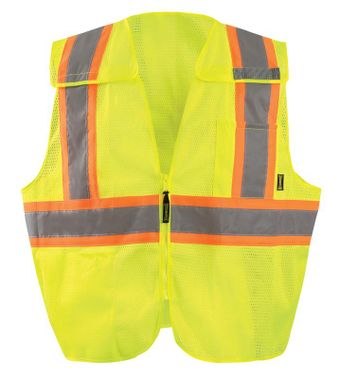 Occunomix ECO-IMB2TX Break-Away Two-Tone X-Back Mesh Vest Front Yellow