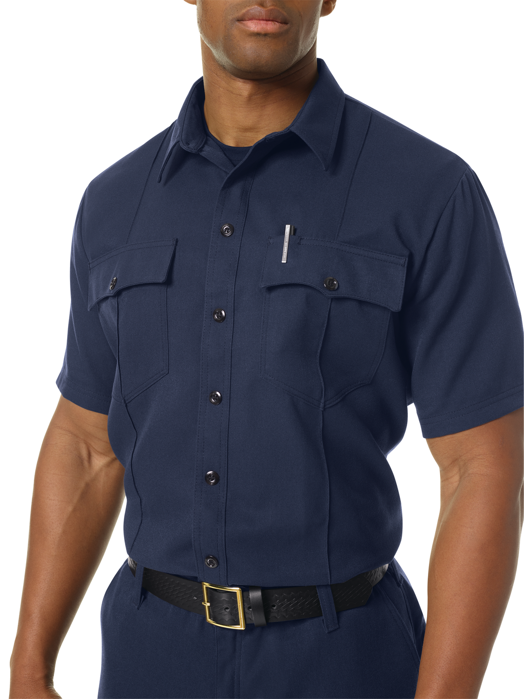 Workrite FR Shirt FSU2, Untucked Uniform, Station No. 73 Navy Example