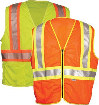 OK-1 Safety Vests ILDOTMZ, ODOTMZ - Contrasting Stripe Class 2 Mesh Polyester