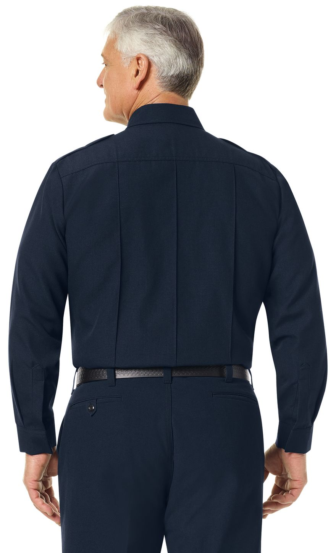 Workrite FR Fire Officer Shirt FSE0 Classic Long Sleeve Midnight Navy Example Back