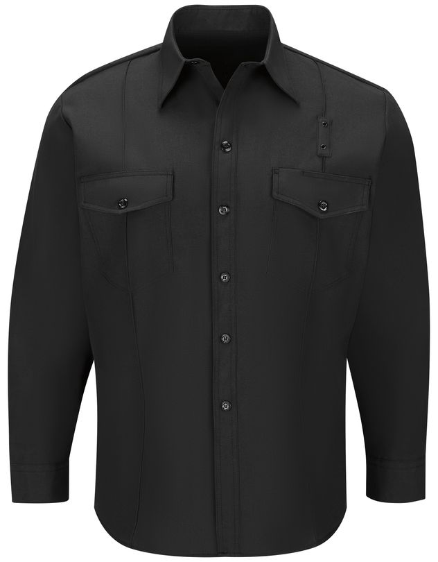 Workrite FR Firefighter Shirt FSF4, Classic Long Sleeve, Western Black Front