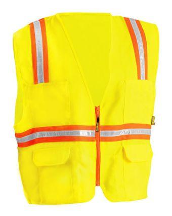 Occunomix LUX-XTRANS Hi-Viz Solid Two-Tone Surveyor Vest Yellow Front