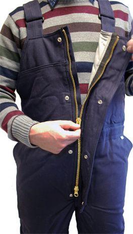 Workrite Flame Retardant Thinsulate Lined Winter Bib Overalls - Zipper Detail