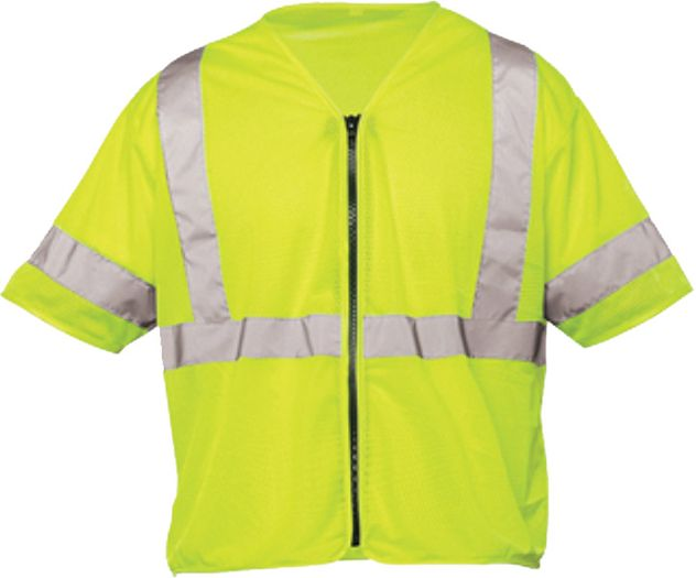 OK-1 Safety Vests S3O-04, S3L-04 - Class 3 Mesh Polyester Fluorescent Lime