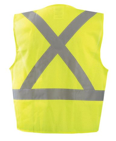 Occunomix ECO-IMZX Mesh X-Back Vest with Zipper Back Yellow