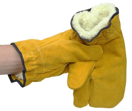 RefrigiWear 0216 Three Finger Leather Work Mitts - Inner Lining