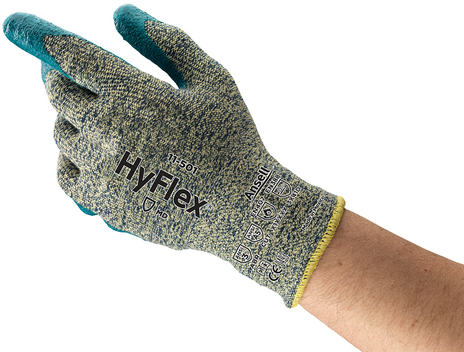 Ansell HyFlex Aramid Work Gloves 11-501 - Foam Nitrile, Stretch Armor, Cut Protection Front