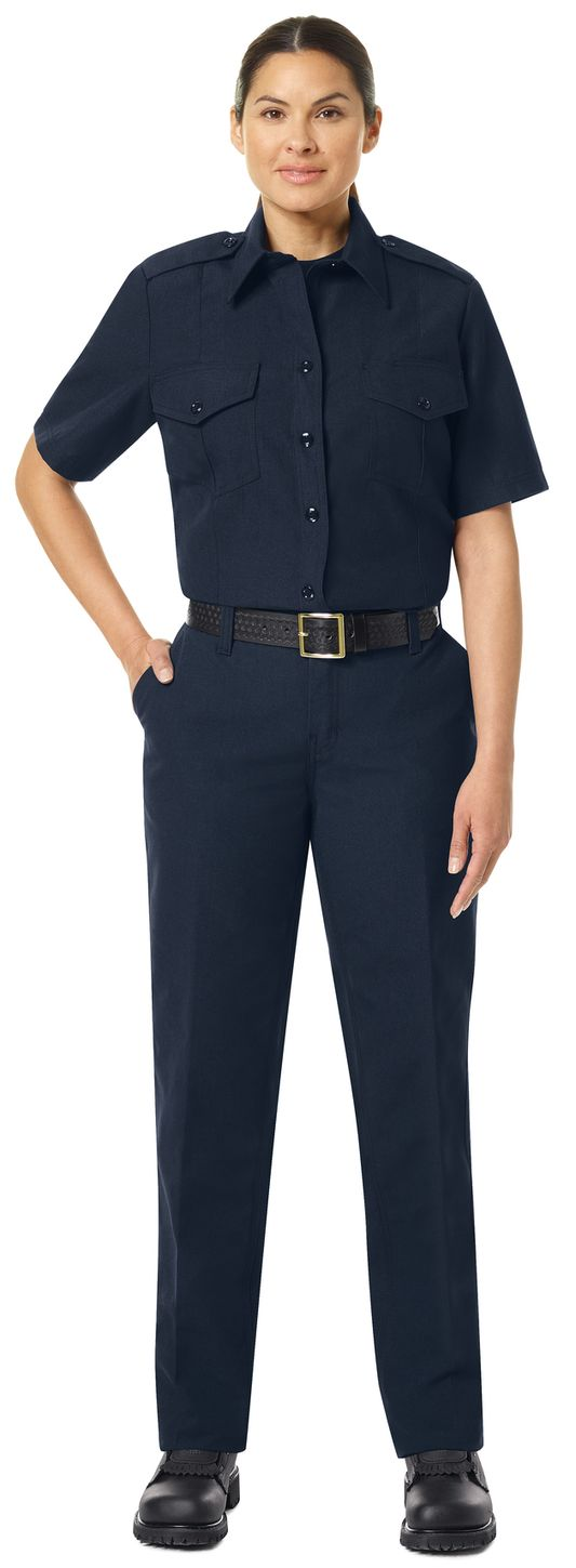 Workrite FR Women's Chief Shirt FSC7, Classic Short Sleeve Midnight Navy Example Front