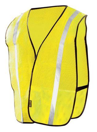 Occunomix LUX-XSBM Hi-Viz Mesh Silver Reflective Vest Yellow Front