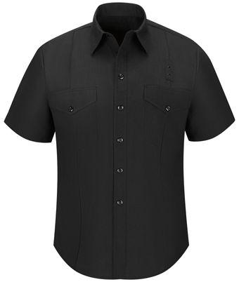 Workrite FR Firefighter Shirt FSF6, Classic Short Sleeve, Western Black Front