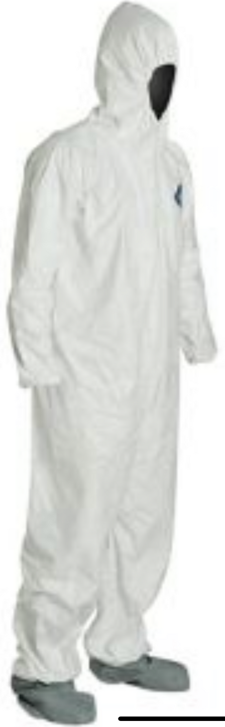 DuPont Tyvek Disposable Suit with Elastic Wrists - Hood & Anti-Skid Boots - TY122SWH Right Side