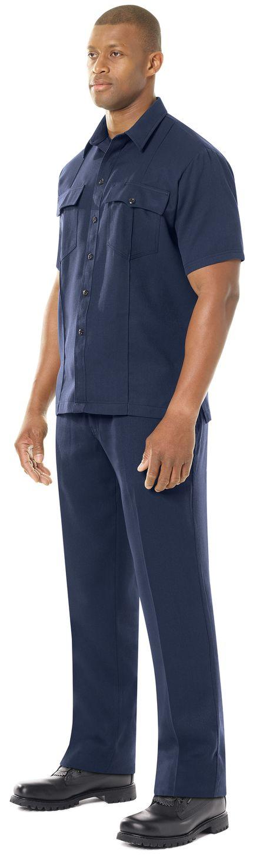 Workrite FR Shirt FSU2, Untucked Uniform, Station No. 73 Navy Example Left