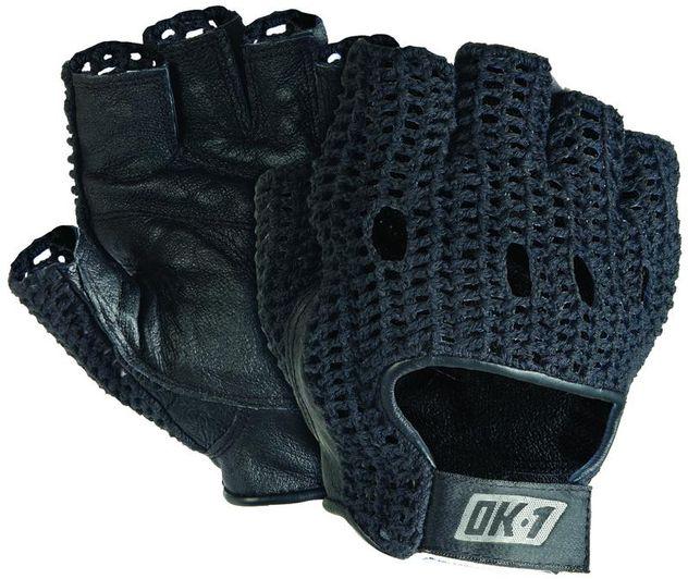 OK-1 Fingerless Mesh Back Lifter's Gloves NWGS - Padded, Premium Grain Leather Black