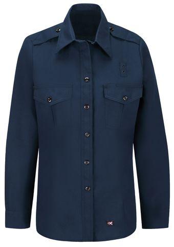 Workrite FR Women's Fire Chief Shirt FSC1, Classic Long Sleeve Navy Front